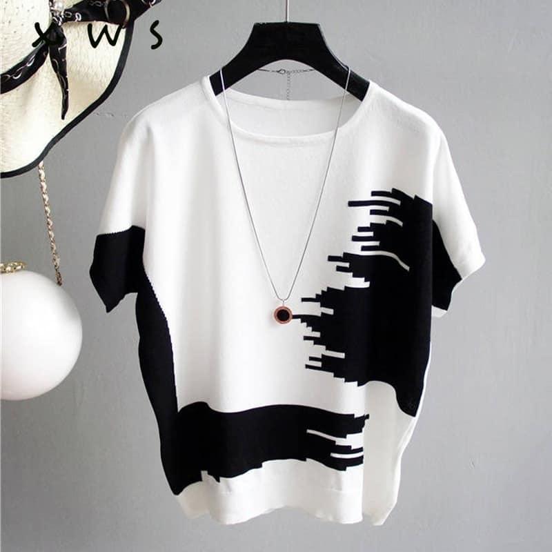 Maglione estivo da donna Pullover maglione lavorato a maglia a costine sottili patchwork o collo maglione essenziale maglioni a maniche corte jersey mujer 2021