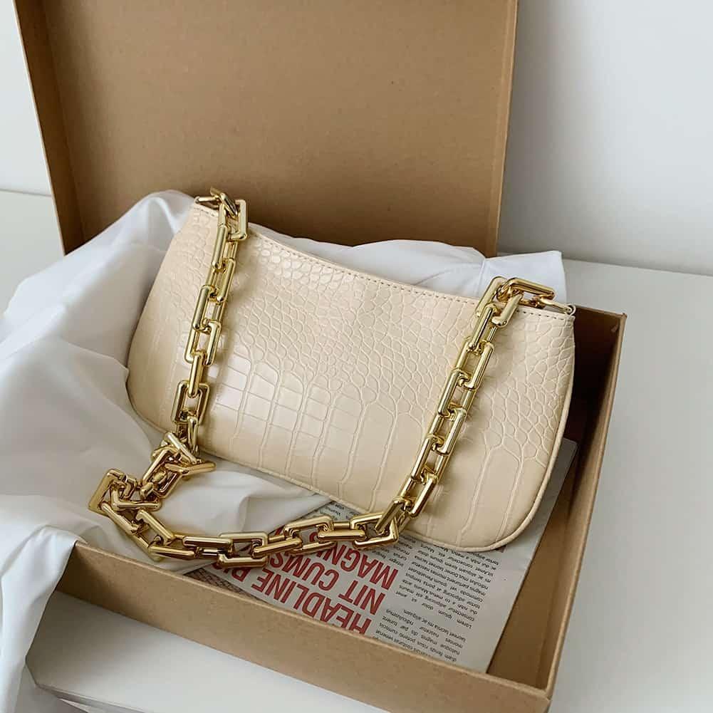 Borsa a tracolla in pelle PU con motivo a coccodrillo di moda MINI borsa a tracolla in pelle PU per donna borsa da viaggio di lusso con design a catena