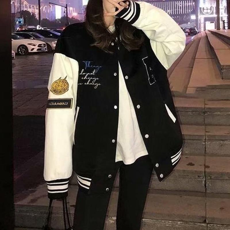 Giubbotto Bomber ricamato orso Casual donna collo tondo tasca impunturato giacche da Baseball cappotti larghi Streetwear stile coreano
