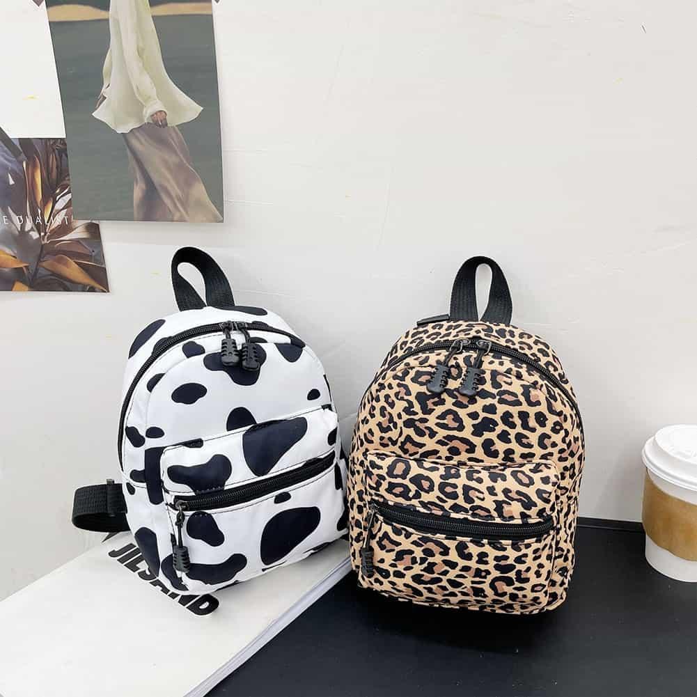 Zaini da donna Zebra Leopard Cow Print borsa a tracolla in Nylon studenti High School borsa per libri piccola Mini zaino femminile mochila