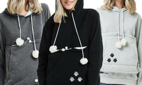 2021 Hirigin moda manica lunga Casual con cappuccio simpatico supporto per animali domestici Carrier gravidanza cappotto felpa allentata felpe con cappuccio tasca grande