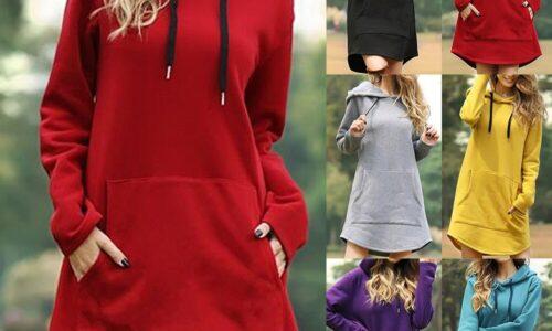2021 nuove felpe con cappuccio lunghe autunnali abiti da donna felpe con cappuccio manica lunga tasca Casual abito con cappuccio Pullover oversize allentato