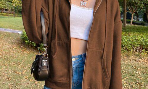 Felpa con Zip marrone giacca a molla abbigliamento felpe con cappuccio Oversize donna tasche Vintage pullover a maniche lunghe maglione con cerniera 2021
