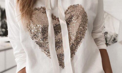 Felpa donna sweetshirts cuore paillettes felpa con cappuccio top Harajuku Kawaii moda coreana Streetwear 2021 abiti Punk