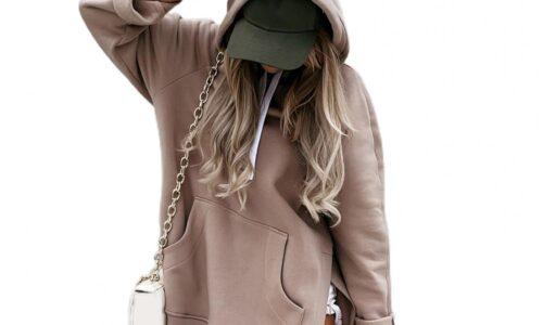 Felpe con cappuccio lunghe autunnali abiti da donna tinta unita con coulisse tasca grande felpa con spacco laterale Pullover oversize abito con cappuccio