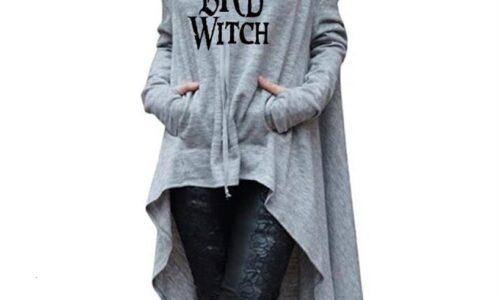 Halloween Bad Witch Letters stampa felpe lunghe irregolari per donna top felpa Femmes Kawaii abiti larghi felpe con cappuccio